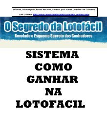 segredos da loteria lotofacil