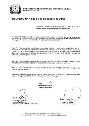 Dec. 4926 de 29.08.2012 - Prefeitura Municipal de Coronel Vivida