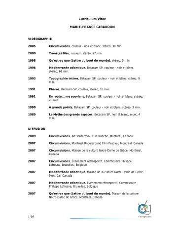 1/16 Curriculum Vitae MARIE-FRANCE GIRAUDON