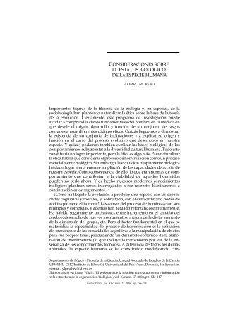 Consideraciones sobre el estatus biológico de la ... - Ludus Vitalis