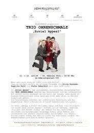 """TRIO OHRENSCHMALZ """"Zuviel Appeal"""" - Admiralspalast"""