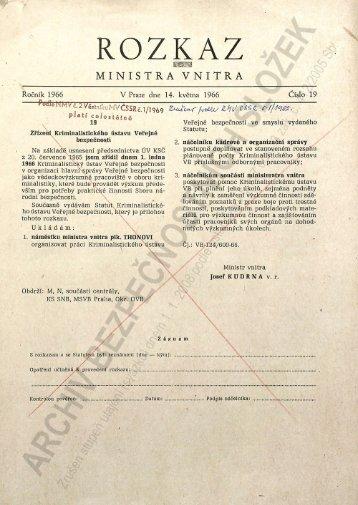 """Rozkaz ministra vnitra č. 19 """"Zřízení Kriminalistického ústavu ..."""