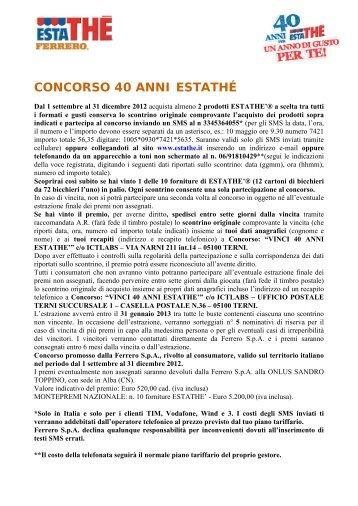 Regolamento Promozione Uova Pasquali Ferrero (IPER) - Estathé