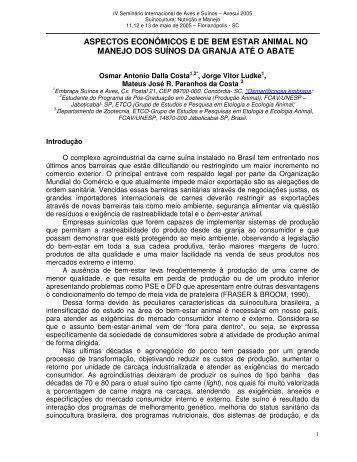 ASPECTOS ECONÔMICOS E DE BEM ESTAR ANIMAL NO ...
