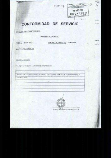 CONFORMIDAD DE SERVICIO - Serpost