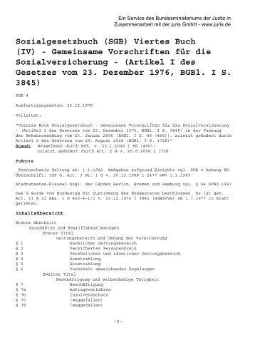 Sozialgesetzbuch (SGB) Viertes Buch (IV) - Gemeinsame - abeKra