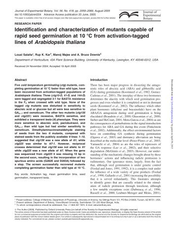 Identification and characterization of mutants capable of rapid seed ...