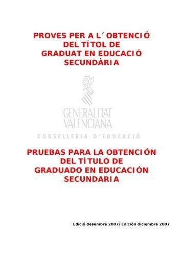 PROVES PER A L´OBTENCIÓ DEL TÍTOL DE - Conselleria d ...