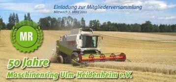50 Jahre - Maschinenring e.V. Ulm-Heidenheim