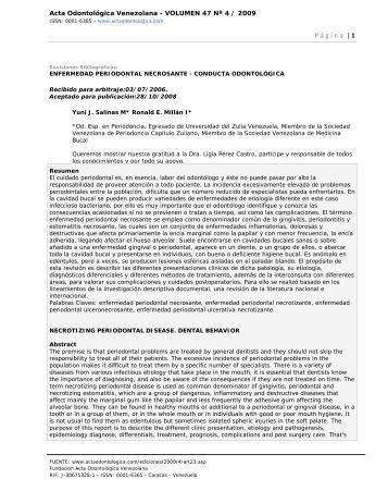 Acta Odontológica Venezolana - VOLUMEN 47 Nº 4 / 2009 - SciELO