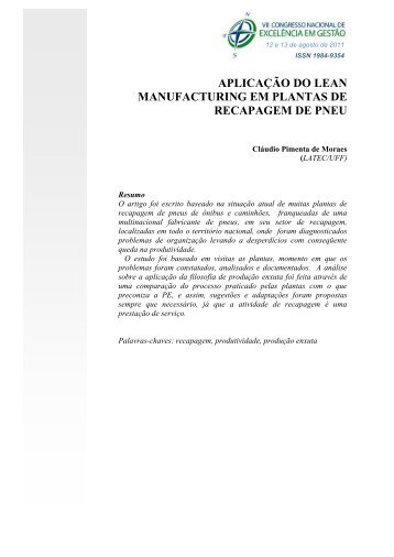 aplicação do lean manufacturing em plantas de recapagem de pneu