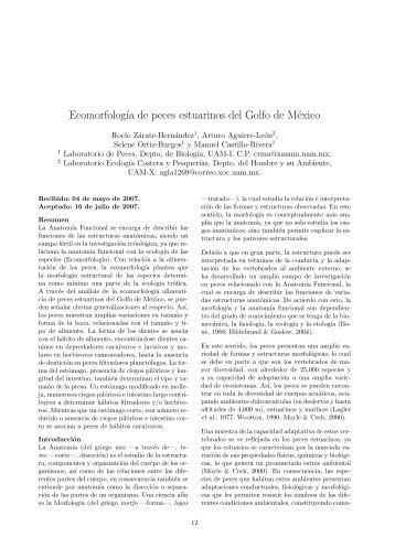 Ecomorfología de peces estuarinos del Golfo de México.