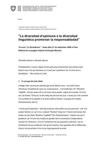 """""""La diversitad d'opiniuns e la diversitad linguistica ... - EJPD - admin.ch"""