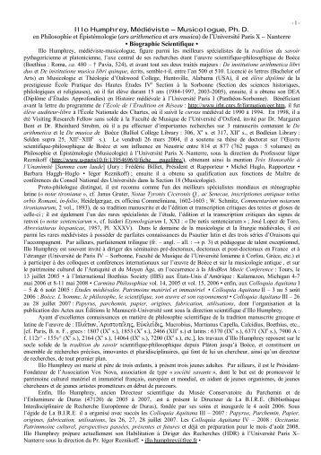 Illo Humphrey, Médiéviste – Musicologue, Ph. D. - index