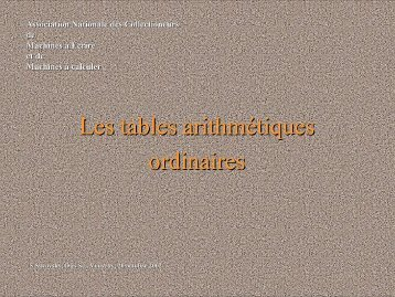 Les tables ordinaires