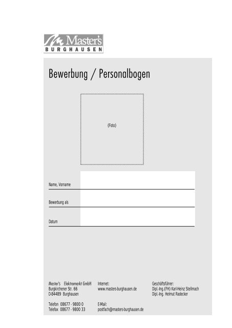 Bewerbung / Personalbogen - Masters-burghausen.de