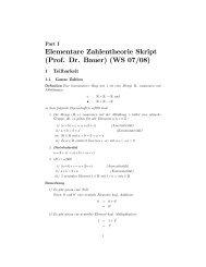 Elementare Zahlentheorie Skript (Prof. Dr. Bauer) (WS 07/08)