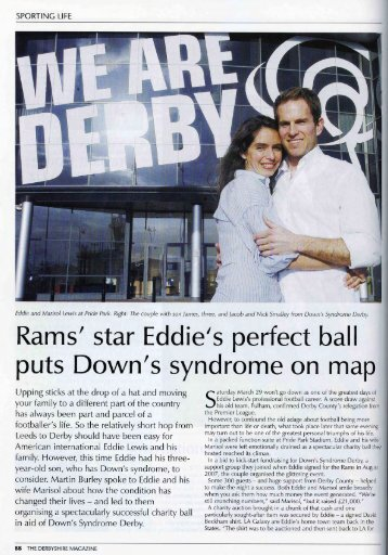 Rams' star Eddie's perfect bal I puts Down's syndrome on map