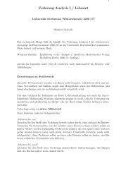 Vorlesung Analysis I / Lehramt - Fakultät für Mathematik