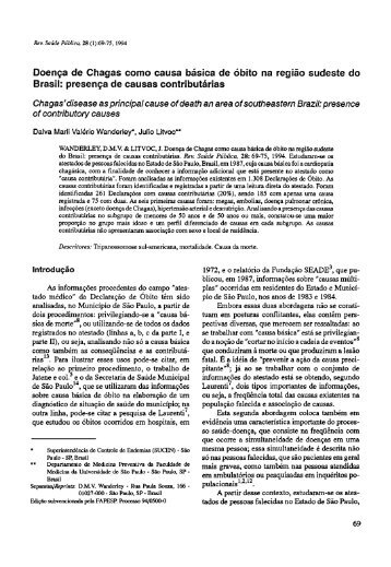 Doença de Chagas como causa básica de óbito na região ... - SciELO