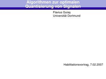 Algorithmen zur optimalen Quantisierung von Signalen