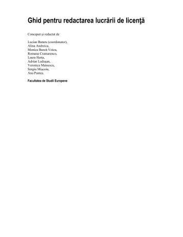 Propunere Ghid redactare si prezentare lucrare ... - Studii Europene