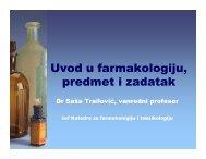 Uvod u farmakologiju, predmet i zadatak