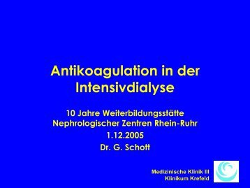Schott - Antikoagulation in der Intensivmedizin - WB-nephro.de