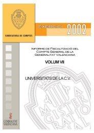 volum vii - La Sindicatura de Comptes - Generalitat Valenciana