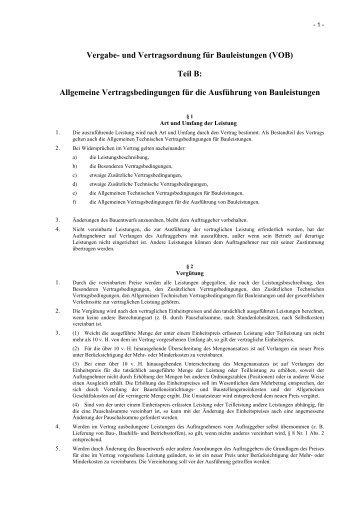 Vergabe- und Vertragsordnung für Bauleistungen (VOB) Teil B ...