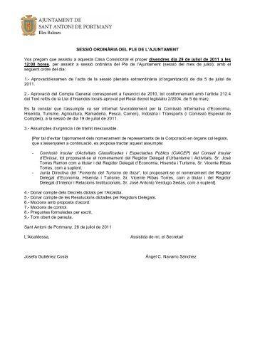 CITACIÓ PLE ORDINARI DE 29-07-2011 - Sant Antoni de Portmany