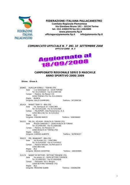 Auxilium Torino Calendario.Scarica Il Calendario Della Serie D Pdf Cestistica Pinerolo