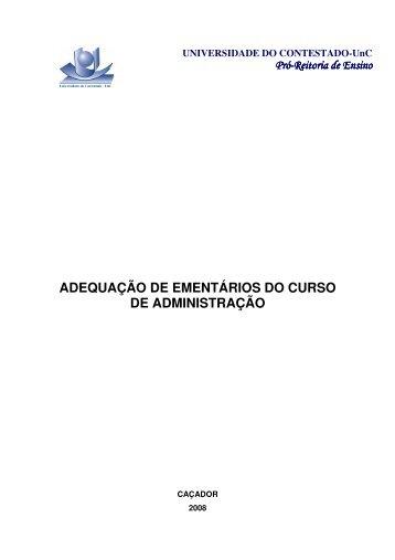 ADEQUAÇÃO DE EMENTÁRIOS DO CURSO DE ADMINISTRAÇÃO