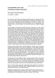 IN AUGENHÖHE: PAUL KLEE Frühe Werke im Blick auf Max Ernst ...