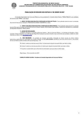 PUBLICAÇÃO EM RESUMO DOS EDITAIS N.º DE ORDEM 38/2007