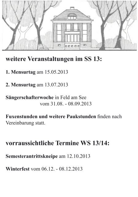 Semesterprogramm SS13 - bei der Sängerschaft Markomannen