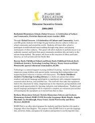 Educator Incentive Grants 2004-2005 - Plano Independent School ...