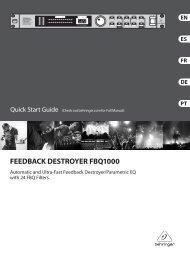 FEEDBACK DESTROYER FBQ1000 Preset chart - Behringer