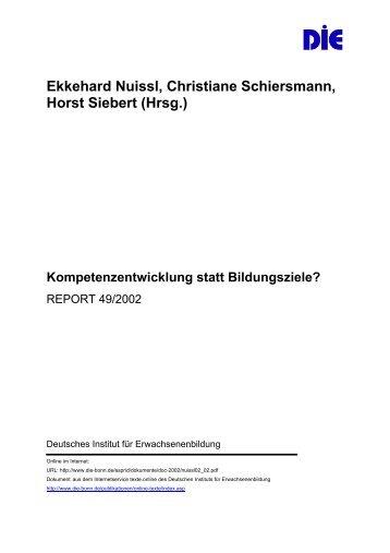 Kompetenzentwicklung statt Bildungsziele? REPORT 49/2002
