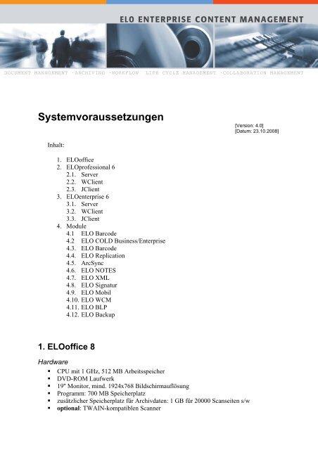 ELOprofessional Systemvoraussetzungen - max it