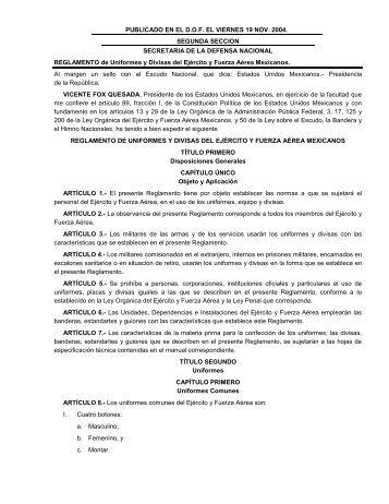Reglamento de Uniformes y Divisas del Ejército y - Secretaría de la ...