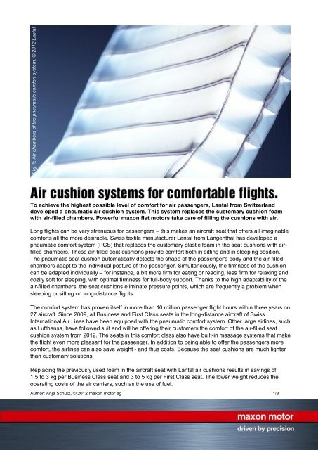 Pdf Air Cushion Systems For Comfortable Flights Maxon Motor