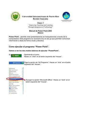 Manual de Power Point Basico - Titulo V - Universidad ...