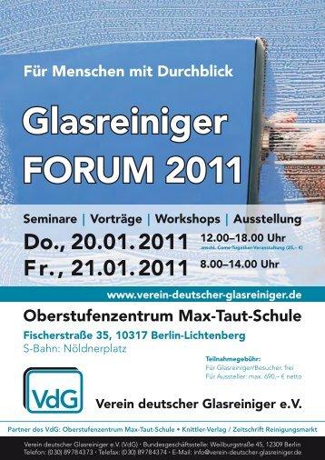 Glasreiniger FORUM 2011 - OSZ Max-Taut-Schule in Berlin