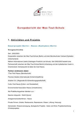 Europabericht 2011 - OSZ Max-Taut-Schule in Berlin