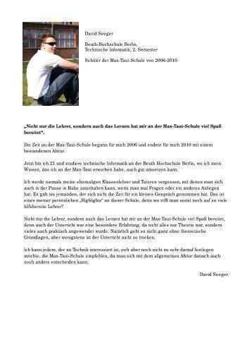 Erfahrungsberichte ehemaliger Schüler - OSZ Max-Taut-Schule in ...