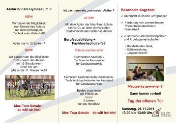 Tag der offenen Tür - OSZ Max-Taut-Schule in Berlin