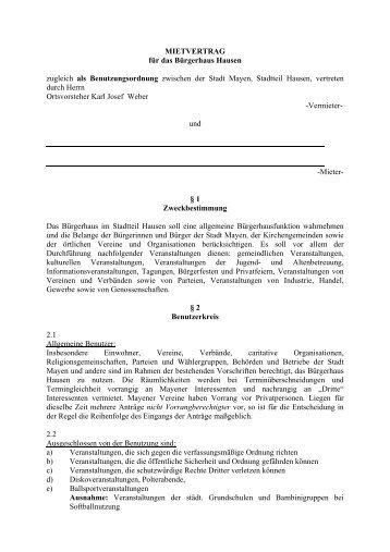 Mietvertrag zum Ausdrucken - Stadt Mayen