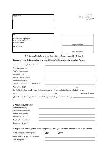 Antrag auf Erteilung einer Gaststättenerlaubnis