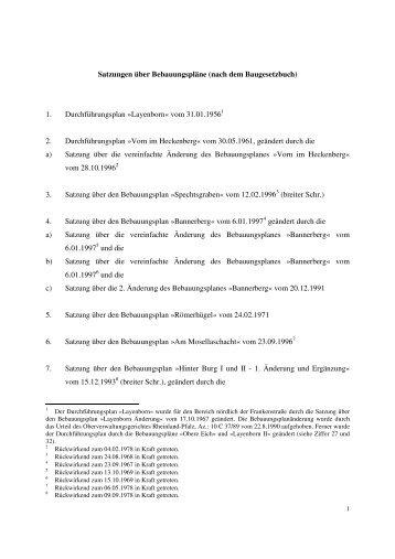 Satzungen über Bebauungspläne (nach dem Baugesetzbuch) 1 ...